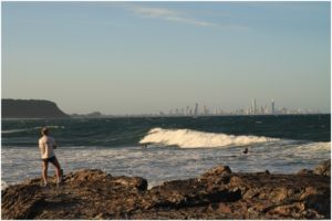 The mouth of the creek is the best place to fish, practice your surf skills on some smaller waves, or just contemplate the Gold Coast skyline at sunset...